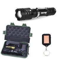 Tactical Cree LED Taschenlampen Zoom 18650 Akku + Ladegerät +Militärbox+keychain