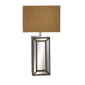 "Urban Designs Mirror Column 32"" Table Lamp with Copper Gold Shade"