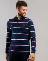 Ellesse Mens Polo Shirt Long Sleeve Maffio Navy Stripe Logo 2XL