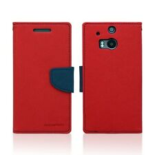 Genuine Korean Mercury Goospery Fancy Diary Wallet Case for HTC One M8 - Red