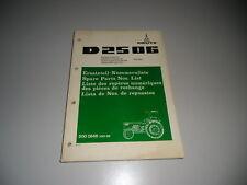 Liste Pièces Détachées Deutz Schlepper Tracteur D 2506 10/1974