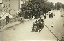 FIRE TRUCK ENGINE PARADE LEBANON & MT. GRETNA, PA  ca 1900's REAL PHOTO POSTCARD