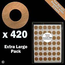 420 x MANILLA / Buff / KRAFT Hang tag Anello / Round / foro RINFORZO Adesivi / Etichette