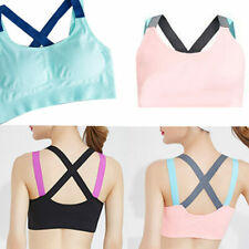 Women Yoga Fitness Workout Tank Top Stretch Racerback Padded Sports Bra Vest New