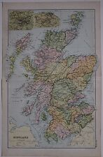 1910 Original Map Scotland Hebrides Argyll Perth Inverness Edinburgh Glasgow