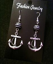 Anchor Earrings Black And White Stripe Bead Charm Nautical Rockabilly Pin Up UK*