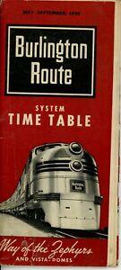 Burlington Route CB&Q Timetable May - September 1955 - Fair Condition