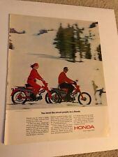 1964 VINTAGE 10X13 Print Ad HONDA TRAIL MACHINE COUPLE RIDING IN SNOW SKI LODGE