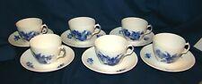 Royal Copenhagen Blue Flowers #8261 Cups & Saucers Set Of 6
