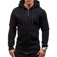 Mens Hoodies Tracksuit Casual Drawstring Long Sleeve Sweatshirt Male Zipper Coat