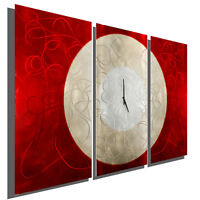Modern Abstract Painting Metal Clock Wall Art - Burning Moon by Jon Allen
