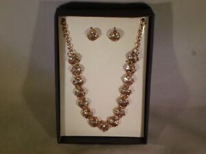 Women's Jewelry Fashion Set Pendant Necklace & Earrings Pink                 H14
