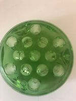 Vintage Green Depression Glass 13 Holes Flower Frog Floral Arranger