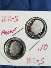 2018~S & 2019~S CLAD PROOF ROOSEVELT DIME 2~COIN GEM~SET PROOF IN 2X2~ IN STOCKB