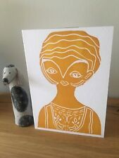 Letterpress Printed LIno Lady Card
