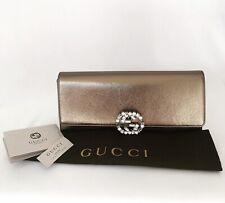 Gucci Bronze Metallic Leather Broadway Clutch