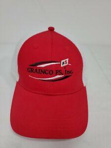 GRAINCO FS, inc Mesh Adjustable Red White Hat NWOT
