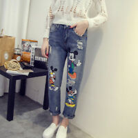 Jeans Women Mickey Mouse Boyfriend Denim Ripped Vintage Straight Casual Pants