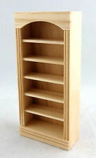 Dolls House 1:24 Scale Unfinished Natural Wood Bookcase Shelf Unit