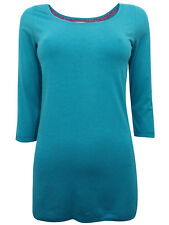 NEW White Stuff Turquoise Jersey Tee 3/4 Sleeve Top Size 12