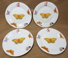"""Set of 4 Trisa Butterfly Salad/Lunch/Dessert Plates Background Off White 7.75"""""""