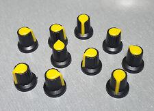 HW02-4 Black Plastic Yellow Insert Spline Knob 15mm Dia. Pack of 10