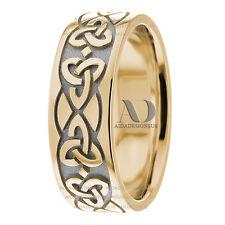 Trinity Knot Celtic Wedding Band 8mm Two Tone Men's Wedding Ring 10K Gold