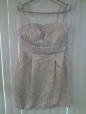 NWT Max and & Cleo Strapless Cream/Gold Dress Chest Empire Waist 14 Womens $158