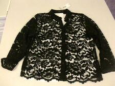 Papya Black floral mesh long sleeve shirt blouse collar gothic cotton blend New