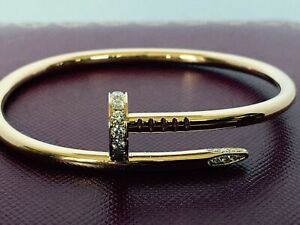Cartier Juste Un Clou , Nail Bracelet With Diamonds, 18k Yellow Gold , Size 16