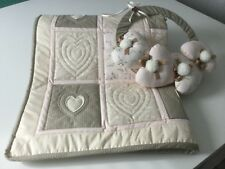Handmade patchwork cot quilt, machine embroidered hearts, baby gift, nursery bed