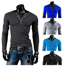 Mens Slim Henley V Neck Long Sleeve Muscle Tee T-shirt Casual Tops Blouse Shirts