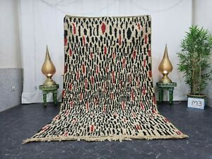 "Moroccan Boujaad Handmade Rug 5'5""x9' Berber Striped Black Red Wool Carpet"