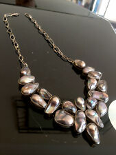 Genuine Vintage Articulated 925 Silver Baroque Pearl Necklace Handmade Quality