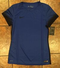 NEW Womens Nike Medium Authentic Soccer Shirt Short Sleeve Dri-fit Blue Black$60