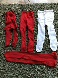 Vintage Lot of Baby Girl Tights~ 3 Pairs Red ~ 1 Ruffled Butt White Bonnie Doon