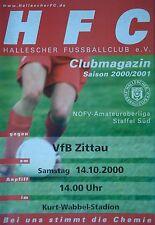 Programm 2000/01 HFC Hallescher FC - VfB Zittau