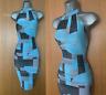 KAREN MILLEN UK 12 Geometric Blue Print Metallic Jersey Halterneck Pencil Dress