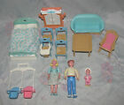 Fisher Price Loving Family Dollhouse Lot - Mom, Dad, Couch, Bed, Baby, Kitchen