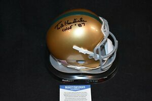 Ted Hendricks Signed Mini Helmet Notre Dame Fighting Irish.  Beckett Cert