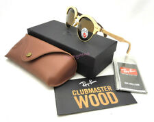 NWT Ray-Ban RB4246M Wood Gold Brown Polarized Clubmaster Round 51-19 Sunglasses