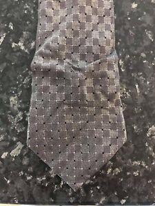 Reserve MENS 100% silk NECK tie -  grey on grey check pattern GREAT USED