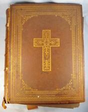 The Holy Bible Large Antique Book 1858 Edward Dunigan New York George Haydock O