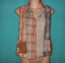 SACRED THREADS S Patchwork Plaid Fade Out Crop Top Shirt Grunge Retro S