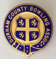 Durham County Bowling Assoc Club Badge Pin Rare UK Vintage (M14)