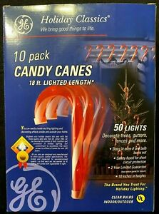 """Set of 10 GE Candy Cane Outdoor/Indoor Christmas Hanging Lamp 10"""" H 18' Long"""