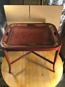 Stunning Cherry Coffee Table w. Paint Decorated Metal Tray and Fabric Liner