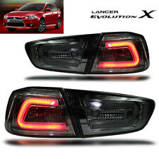 LED TAIL LIGHT SMOKE BLACK LAMP Mitsubishi Evolution 10 EVO X LANCER EX 08-16 CJ