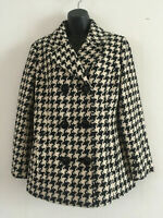 NEW Classic LADIES Dogtooth Houndstooth Check Black White Coat UK 18