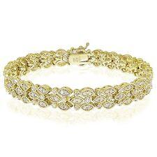 Gold Tone 2.00 CTTW Diamond Marquise Tennis Bracelet